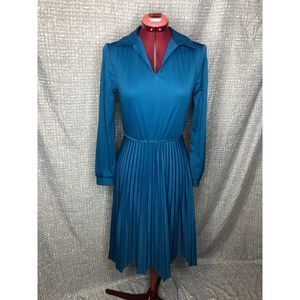 1970s shirt dress with pleated skirt